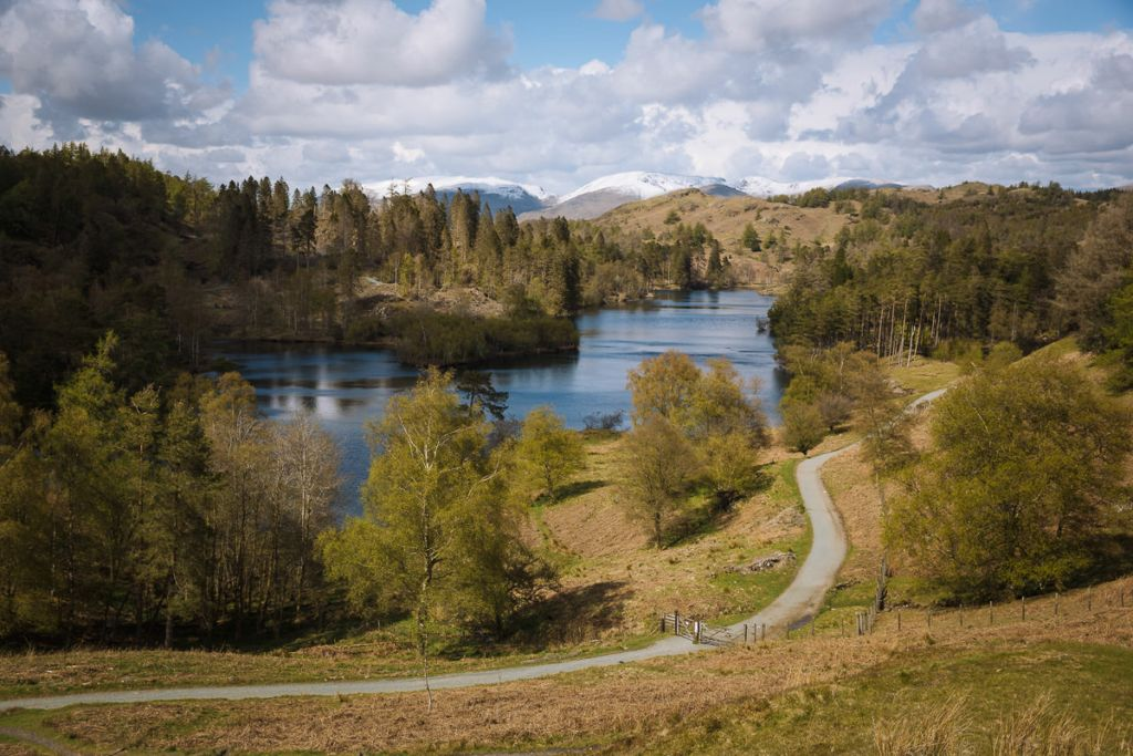 Gentle walking path circles a picturesque lake in the Lake District
